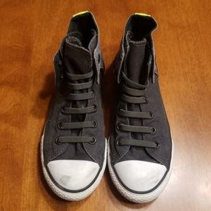 Converse elastic lace up Gray and Neon high top